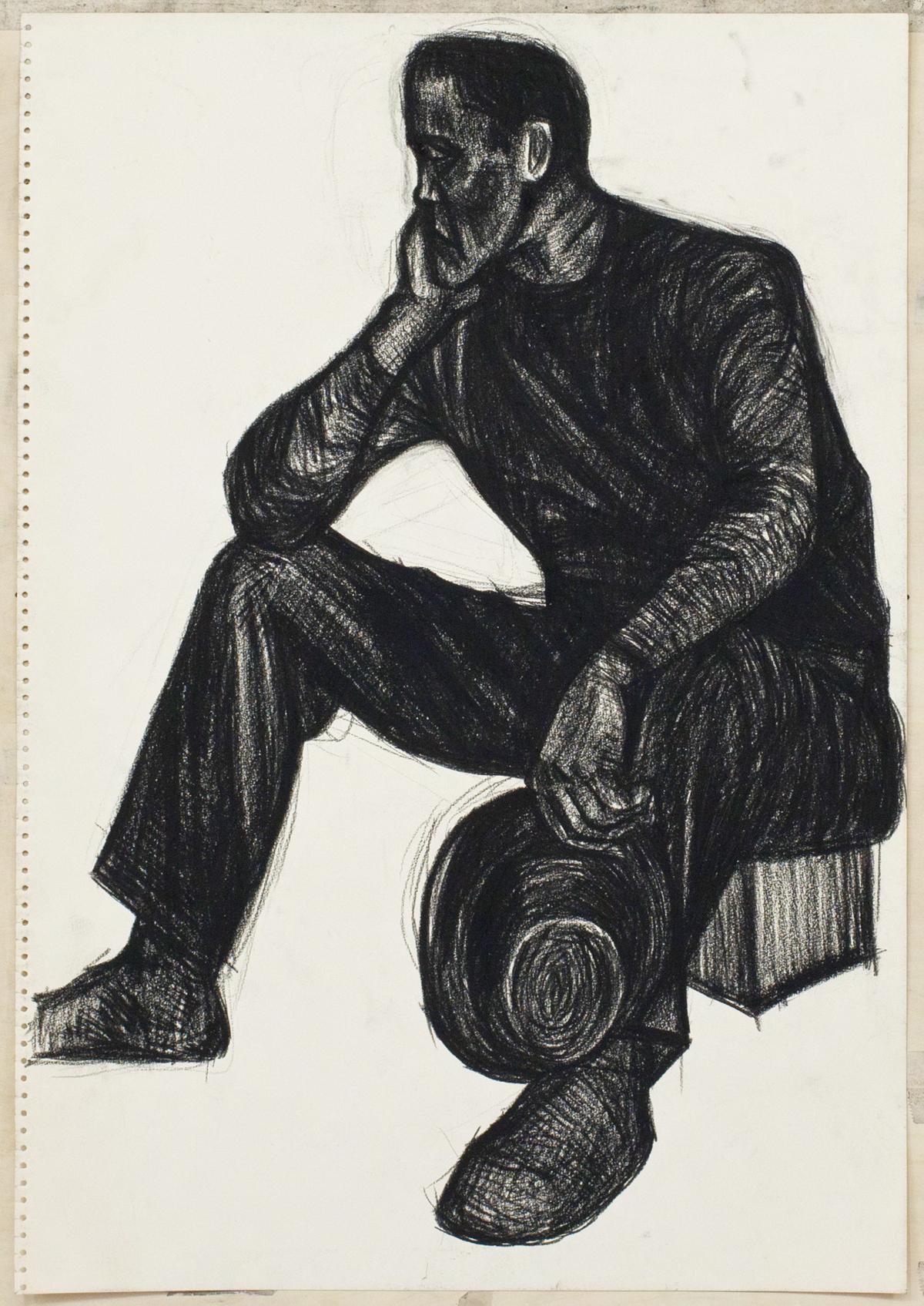無題(帽子を持って座る人物)の画像
