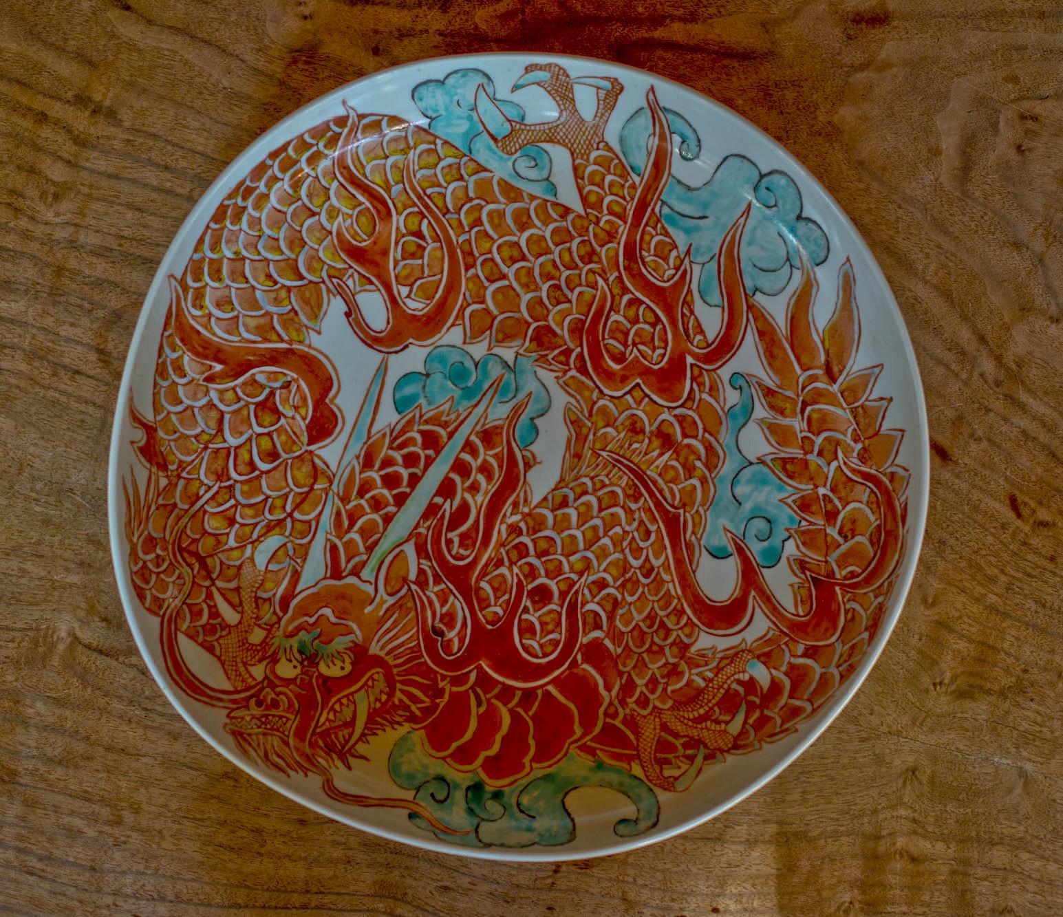 龍色絵 大皿の画像