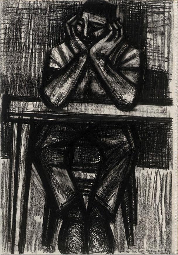 無題(両肘をつく男)不詳 53.8×37.6世田谷美術館蔵