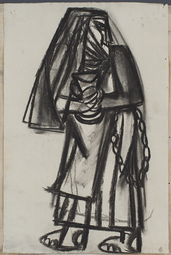 無題(横を向く修道女)木炭 47.0×31.5 個人蔵